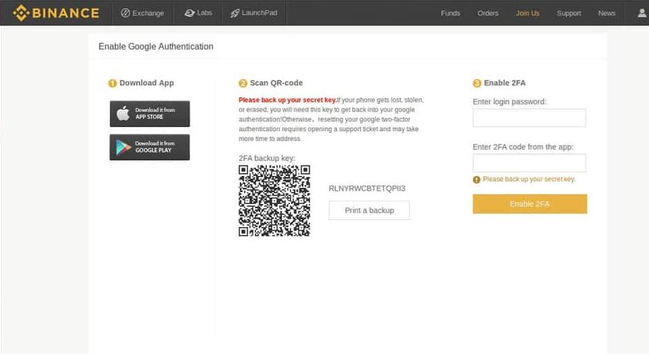 Binance: Οδηγός αγοράς: 2-Factor Authentication
