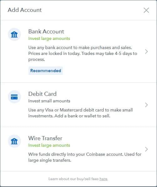 Οδηγός αγοράς κρύπτονομισμάτων στο CoinBase: Επιλέξετε τη μέθοδο πληρωμής στο coinbase